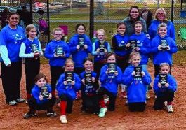 The Adair County 8u Tribe are named tournament champs at Green River Outlaws Halloween softball tournament at Veteran's Memorial Park in Campbellsville. The Tribe fought hard in tournament play defeating Russell County Chaos in extra innings then defeating Kentucky Smoke 11-9 in the championship. Pictured are front row left to right, Brinlee Tooley, Kaylence Bennett, Makayla White, Trinity Hancock, Tenley Mitchum, and Allie Cundiff. Second Row, Josie Cox, Addison Giles, Riley Coomer, Reagan Petty, Ila Loy, Ella Brown and Tilly Harellson. Coaches, Ashley Bennett, Elizabeth White and Amanda Hancock. Not pictured Khali Stockton, Kenadi Willis and Sadie Mantooth. The team is sponsored by Mid State Ready Mix.